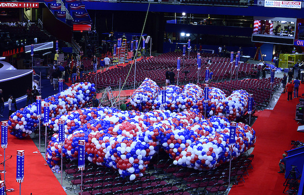 Balloons for the celebration on Thursday night after the Republican Party nominees for Vice President and President of the United States rest in big bags on the floor of the Quicken Loans Arena prior to their being lifted into the ceiling on Friday, July 15, 2016.<br /> Credit: Ron Sachs / CNP/MediaPunch<br /> (RESTRICTION: NO New York or New Jersey Newspapers or newspapers within a 75 mile radius of New York City)