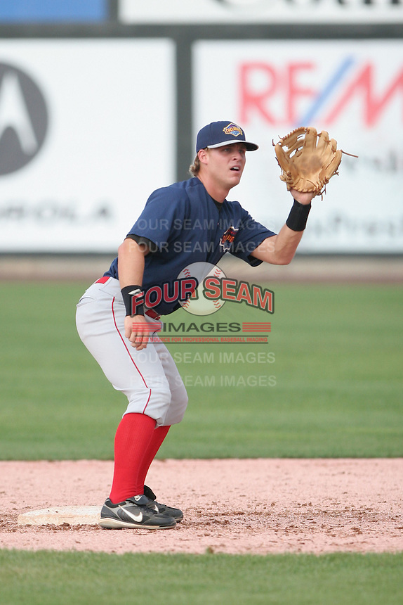 July 31st, 2007:  Micah Schilling of the Brooklyn Cyclones, Short-Season Class-A affiliate of the New York Mets a Edward LeLacheur Park in Lowell, MA.  Photo by:  Mike Janes/Four Seam Images