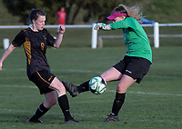 Action from the Kate Sheppard Cup women's football match between Dunedin tech and Universities at Tahuna Park in Dunedin, New Zealand on Saturday, 23 June 2018. Photo: Dave Lintott / lintottphoto.co.nz