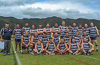 The Auckland team pose for a team photo after the Wellington Australian Rules Football National Provincial Championship final match between the Wellington Tigers (black and yellow) and Auckland Buccaneers (blue and white) at Hutt Park, Wellington, New Zealand on Saturday, 6 December 2014. Photo: Dave Lintott / lintottphoto.co.nz