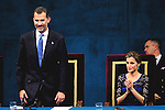 King Felipe VI of Spain and Queen Letizia of Spain attended the 'Prince of Asturias Awards 2014' ceremony at the Campoamor Theater on October 24, 2014 in Oviedo, Spain.