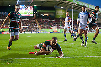 Telusa Veainu of Leicester Tigers scores a try in the first half. European Rugby Champions Cup match, between Leicester Tigers and Castres Olympique on October 21, 2017 at Welford Road in Leicester, England. Photo by: Patrick Khachfe / JMP