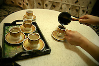 Making Turkish coffee at home, Istanbul, Turkey
