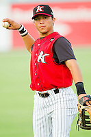Carlos Sanchez #29 of the Kannapolis Intimidators warms up prior to the game against the Lakewood BlueClaws at Fieldcrest Cannon Stadium on July 16, 2011 in Kannapolis, North Carolina.  The Intimidators defeated the BlueClaws 5-3.   (Brian Westerholt / Four Seam Images)
