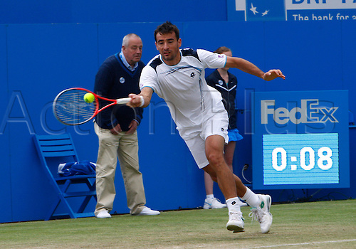 15.06.12 Queens Club, London, ENGLAND: ..Ivan Dodig CRO..Sam Querrey USA versus Ivan Dodig CRO..during day five of the Aegon Championships at Queens Club ..on June 15, 2012 in London , England.........