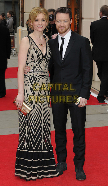 Anne-Marie Duff & James McAvoy.The Laurence Olivier Awards held at the Royal Opera House - Arrivals, London, England..April 28th, 013.full length black suit dress grey gray pattern married husband wife beard facial hair .CAP/CAN.©Can Nguyen/Capital Pictures.