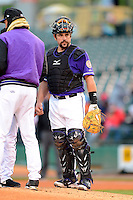 Louisville Bats catcher Konrad Schmidt #33 during a game against the Indianapolis Indians on April 19, 2013 at Louisville Slugger Field in Louisville, Kentucky.  Indianapolis defeated Louisville 4-1.  (Mike Janes/Four Seam Images)