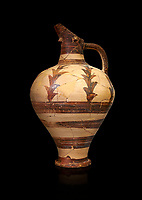 Minoan decorated jug for export, Kommos Harbour 1600-1450 BC; Heraklion Archaeological  Museum, black background.