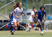 Bradenton, FL - Sunday, June 12, 2018: Jordyn Huitema, Angeline Gustave prior to a U-17 Women's Championship 3rd place match between Canada and Haiti at IMG Academy. Canada defeated Haiti 2-1.