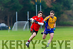 Gavan O'Grady Glenbeigh/Glencar takes on Gerald Hartnett Beaufort during the Mid Kerry Championship semi final in Beaufort on Saturday