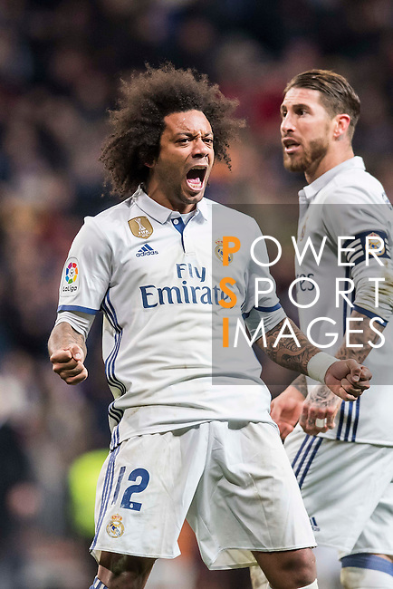 Marcelo Vieira Da Silva of Real Madrid celebrates during their Copa del Rey 2016-17 Quarter-final match between Real Madrid and Celta de Vigo at the Santiago Bernabéu Stadium on 18 January 2017 in Madrid, Spain. Photo by Diego Gonzalez Souto / Power Sport Images