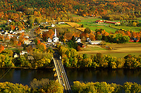 Sunderland, MA, Massachusetts, The Connecticut River Valley, Aerial view of the scenic town of Sunderland along the Connecticut River in the autumn.