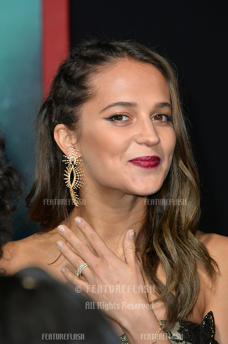 Alicia Vikander at the US premiere for &quot;Tomb Raider&quot; at the TCL Chinese Theatre, Los Angeles, USA 12 March 2018<br /> Picture: Paul Smith/Featureflash/SilverHub 0208 004 5359 sales@silverhubmedia.com