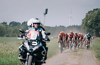 Team Roompot-NederlandseLoterij at the helm over the cobbles<br /> <br /> Antwerp Port Epic 2018 (formerly &quot;Schaal Sels&quot;)<br /> One Day Race:  Antwerp &gt; Antwerp (207 km; of which 32km are cobbles &amp; 30km is gravel/off-road!)
