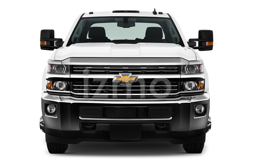 Car photography straight front view of a 2017 Chevrolet Silverado-3500HD LT-Crew-DRW 4 Door Pick-up Front View