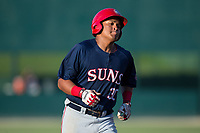 Aldrem Corredor (30) of the Hagerstown Suns rounds the bases after hitting a home run against the Kannapolis Intimidators at Kannapolis Intimidators Stadium on June 15, 2017 in Kannapolis, North Carolina.  The Intimidators defeated the Suns 9-1 in game two of a double-header.  (Brian Westerholt/Four Seam Images)