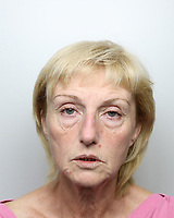 Pictured: Penelope John, Dyfed Powys Police custody picture.<br /> Re: A mother and son found guilty of murdering 84 year old Betty Guy, are due to be sentenced by Swansea Crown court.<br /> Mrs Guy died on November 7, 2011, and her body was cremated soon afterwards.<br /> Her daughter, Penelope John, aged 50, and her grandson, Barry Rogers, 32, have previously denied her murder and an alternative charge of manslaughter.<br /> The court has previously heard that the prosecution case involved 75 hours of recorded statements made by the defendants.