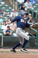 Durham Bulls outfielder Kyle Hudson #32 during a game against the Empire State Yankees at Frontier Field on May 13, 2012 in Rochester, New York.  Durham defeated Empire State 3-1.  (Mike Janes/Four Seam Images)