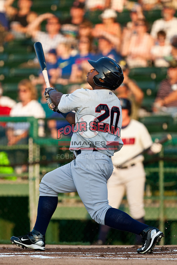 Center fielder Kentrail Davis #20 of the Brevard County Manatees wtcher his hit during the game against the Daytona Beach Cubs at Jackie Robinson Ballpark on April 9, 2011 in Daytona Beach, Florida. Photo by Scott Jontes / Four Seam Images