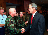 Sept. 17, 2001, Washington, DC, United States<br /> <br /> <br /> President George W. Bush (R)  shakes hands with an Army Reservist (L) at the Pentagon on Sept. 17, 2001. Bush and Vice President Dick Cheney met earlier with Secretary of Defense Donald H. Rumsfeld and other members of the national security team at the Pentagon. Bush later informally greeted and thanked Pentagon personnel in the hallways and cafeter