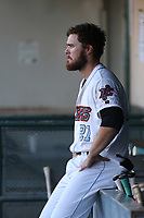 Jared Walsh (21) of the Inland Empire 66ers in the dugout during a game against the Rancho Cucamonga Quakes at San Manuel Stadium on July 29, 2017 in San Bernardino, California. Inland Empire defeated Rancho Cucamonga, 6-4. (Larry Goren/Four Seam Images)