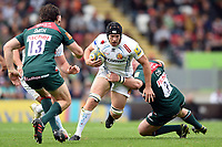 Julian Salvi of Exeter Chiefs takes on the Leicester Tigers defence. Aviva Premiership match, between Leicester Tigers and Exeter Chiefs on September 30, 2017 at Welford Road in Leicester, England. Photo by: Patrick Khachfe / JMP