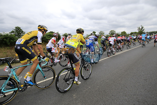 Riders, including Yellow Jersey leader Peter Sagan (SVK) Tinkoff, pass through the feed zone at La Hargriniere during Stage 3 of the 2016 Tour de France, running 223.5km from Granville to Angers, France . 4th July 2016.<br /> Picture: Eoin Clarke | Newsfile<br /> <br /> <br /> All photos usage must carry mandatory copyright credit (&copy; Newsfile | Eoin Clarke)