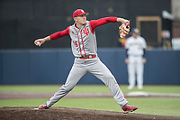 Indiana Hoosiers pitcher Jonathan Stiever (34) delivers a pitch to the plate against the Michigan Wolverines during the NCAA baseball game on April 21, 2017 at Ray Fisher Stadium in Ann Arbor, Michigan. Indiana defeated Michigan 1-0. (Andrew Woolley/Four Seam Images)