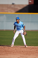 Jalen Greer (14) of St. Rita of Cascia High School in Chicago, Illinois during the Baseball Factory All-America Pre-Season Tournament, powered by Under Armour, on January 13, 2018 at Sloan Park Complex in Mesa, Arizona.  (Mike Janes/Four Seam Images)