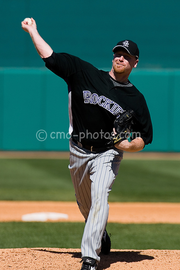 Mar 22, 2008; Tucson, AZ, USA; Colorado Rockies pitcher Aaron Cook (28) throws a pitch during a game against the Arizona Diamondbacks at Tucson Electric Park.  The Rockies would win the game 12-11.