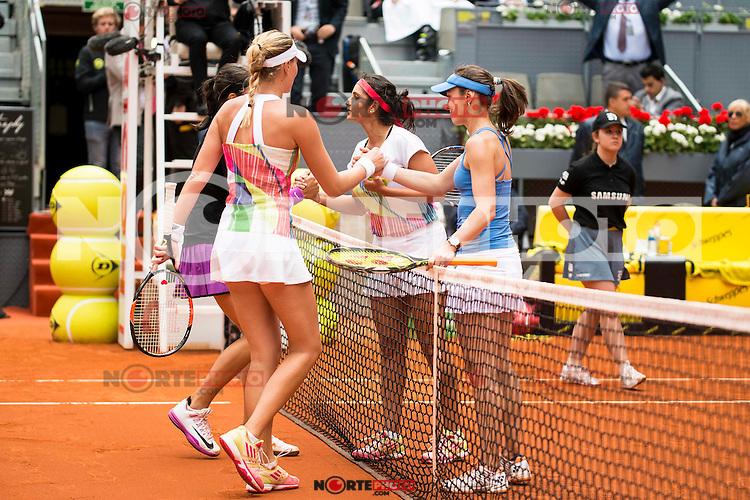 French Caroline Garcia, french Kristina Mladenovic, Swiss Martina Hingis and indian Sania Mirza during Doubles Woman Final Mutua Madrid Open Tennis 2016 in Madrid, May 07, 2016. (ALTERPHOTOS/BorjaB.Hojas) /NortePhoto.com