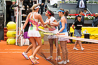 French Caroline Garcia, french Kristina Mladenovic, Swiss Martina Hingis and indian Sania Mirza during Doubles Woman Final Mutua Madrid Open Tennis 2016 in Madrid, May 07, 2016. (ALTERPHOTOS/BorjaB.Hojas) /NortePhoto.com