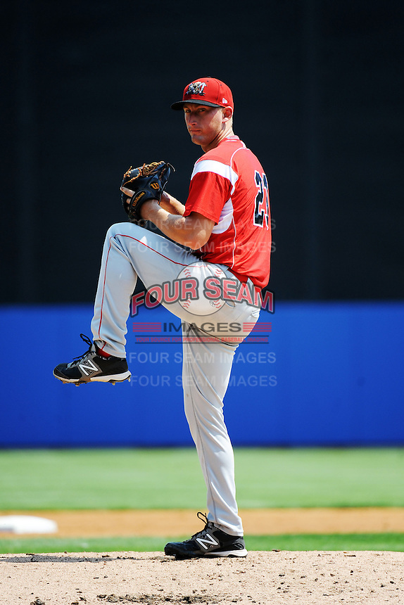 Batavia Muckdogs pitcher Max Garner (21) during game against the Staten Island Yankees at Richmond County Bank Ballpark at St.George on July 18, 2013 in Staten Island, NY.  Batavia defeated Staten Island 8-2.  (Tomasso DeRosa/Four Seam Images)