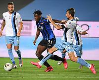 24th June 2020, Bergamo, Italy; Seria A football league, Atalanta versus Lazio;  Lazios Francesco Acerbi vies with Atalantas Duvan Zapata