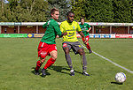 2018-08-12 / Voetbal / seizoen 2018 -2019 / KFC Houtvenne - RC Villers la Ville/ Senne Van Bauwel (l.KFC Houtvenne) met Aurlien Tuzolana ,Foto: Mpics.be