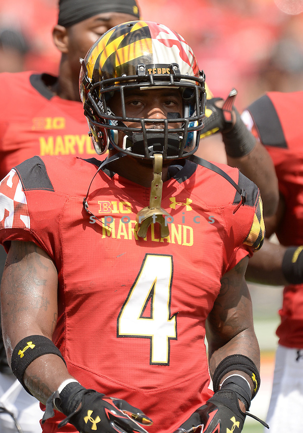 Maryland Terrapins William Likely (4) during a game against the Richmond Spiders on September 5 2015 at Byrd Stadium in College Park, MD. Maryland beat Richmond 51-21.