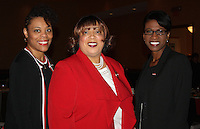 NWA Democrat-Gazette/CARIN SCHOPPMEYER Pearl Dowd (from left), Claudette Barbee, Delta Sigma Theta Arkansas state coordinator,  and Jo Thompson, Crimson and Cream keynote speaker stand for a photo at the fundaiser.