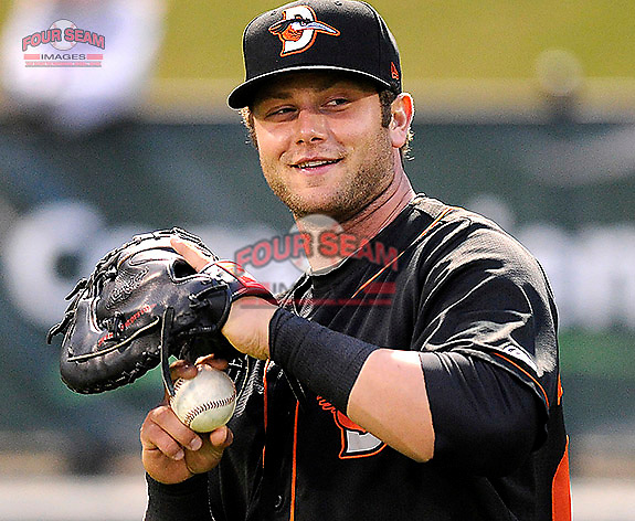 First baseman Christian Walker (23) of the Delmarva Shorebirds before in a game against the Greenville Drive on Saturday, April 27, 2013, at Fluor Field at the West End in Greenville, South Carolina. Greenville won, 5-4. (Tom Priddy/Four Seam Images)