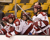 Brian McCafferty (Harvard - 20), Alex Biega (Harvard - 3) - The Northeastern University Huskies defeated the Harvard University Crimson 3-1 in the Beanpot consolation game on Monday, February 12, 2007, at TD Banknorth Garden in Boston, Massachusetts.