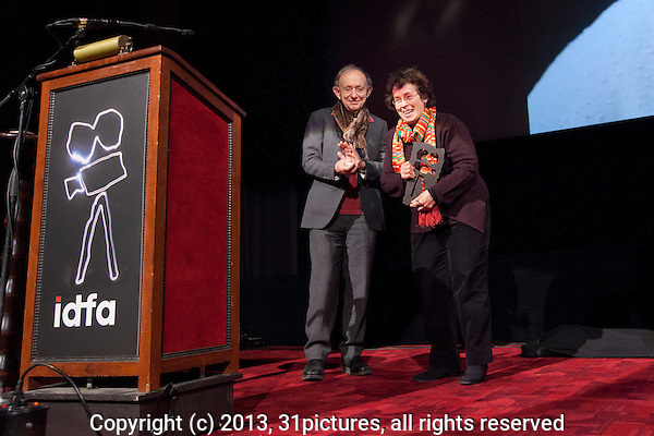The Netherlands, Amsterdam, 20 November 2013. The 26th International Documentary Film Festival Amsterdam - IDFA 2013. Opening; Filmmaker Heddy Honigmann (right) receives IDFA Living Legend Award from Frederick Wiseman (left). Photo: 31pictures.nl / (c) 2013, www.31pictures.nl