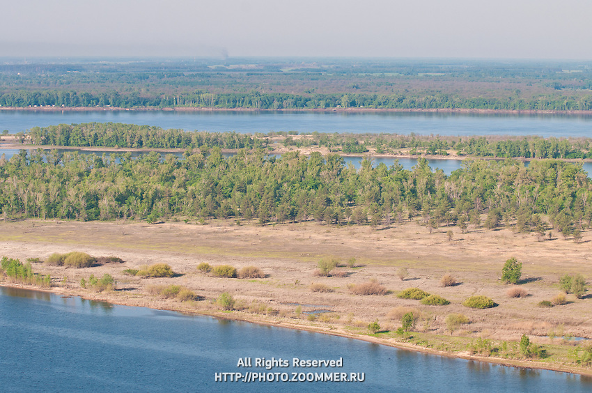 Volga river and forrest on the island