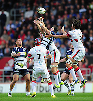 Matthew Morgan of Bristol Rugby looks to claim the ball in the air. Greene King IPA Championship Play-off Final (second leg), between Bristol Rugby and Doncaster Knights on May 25, 2016 at Ashton Gate Stadium in Bristol, England. Photo by: Patrick Khachfe / JMP