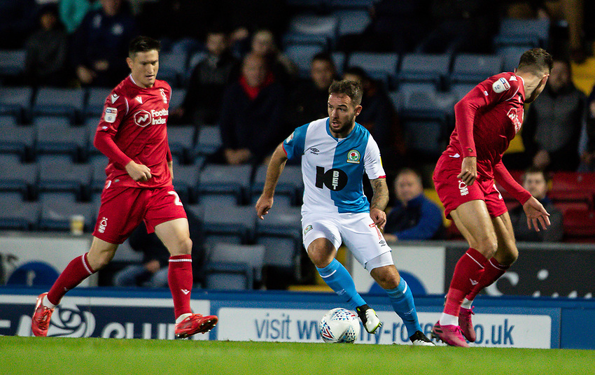 Blackburn Rovers' Adam Armstrong (centre) breaks<br /> <br /> Photographer Andrew Kearns/CameraSport<br /> <br /> The EFL Sky Bet Championship - Blackburn Rovers v Nottingham Forest - Tuesday 1st October 2019  - Ewood Park - Blackburn<br /> <br /> World Copyright © 2019 CameraSport. All rights reserved. 43 Linden Ave. Countesthorpe. Leicester. England. LE8 5PG - Tel: +44 (0) 116 277 4147 - admin@camerasport.com - www.camerasport.com