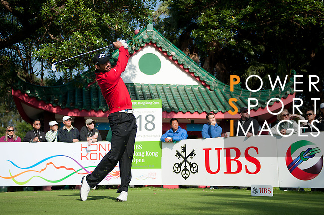 Alvaro Quiros tees off from the eighteenth during Round 2 of the UBS Hong Kong Golf Open 2011 at Fanling Golf Course in Hong Kong on 1st December 2011. Photo © Victor Fraile / The Power of Sport Images