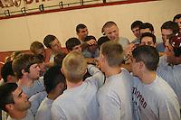 STANFORD, CA - SEPTEMBER 22:  The team huddles in the Weintz Wrestling Room in the Arrillaga Family Sports Center on September 22, 2008 in Stanford, CA.