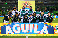 PALMIRA - COLOMBIA - 23 - 03 - 2018: Los jugadores de Deportivo Cali, posan para una foto, durante partido entre Deportivo Cali y Leones F. C., de la fecha 10 por la liga Aguila I 2018, jugado en el estadio Deportivo Cali (Palmaseca) en la ciudad de Palmira. / The players of Deportivo Cali, pose for a photo, during a match between Deportivo Cali and Leones F. C., of the 10th date for the Liga Aguila I 2018, at the Deportivo Cali (Palmaseca) stadium in Palmira city. Photo: VizzorImage  / Nelson Rios / Cont.