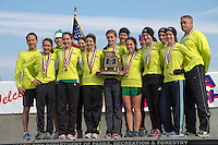 The Ste. Genevieve High School Girls stand atop the awards podium with their Class 3 1st place State Trophy at the Missouri State High School Cross Country Championships in Jefferson City, Saturday, November 3.