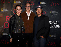 "WEST HOLLYWOOD - NOVEMBER 11: Elizabeth Chai Vasarhelyi, Marco Beltrami, and Jimmy Chin attend a screening of National Geographic's ""Free Solo"" at Pacific Design Center on November 11, 2018 in West Hollywood, California. (Photo by Frank Micelotta/National Geographic/PictureGroup)"