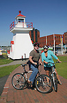 Guiding Light's Kim Zimmer and her husband ride bikes in Saint John, New Brunswick - Day 2 - August 1, 2010 - So Long Springfield at Sea - A day in port in Saint John, New Brunswick, Canada from the Carnival's Glory (Photos by Sue Coflin/Max Photos)