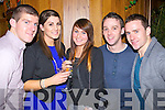 Pictured at the Lane bar on New Year's Eve were l-r: Colm O'Shea (Beaufort) Mary Louise Moriarty (Inch) Aisling Howe (Castlemaine) Damien Clifford (Listry) and Anthony Sweeny (Beaufort)..